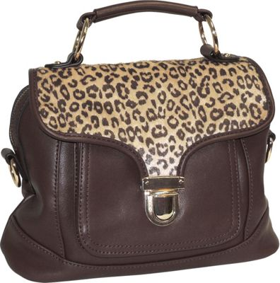 Adrienne Landau Cheetah Print Front Pocket Satchel Brown - Adrienne Landau Leather Handbags