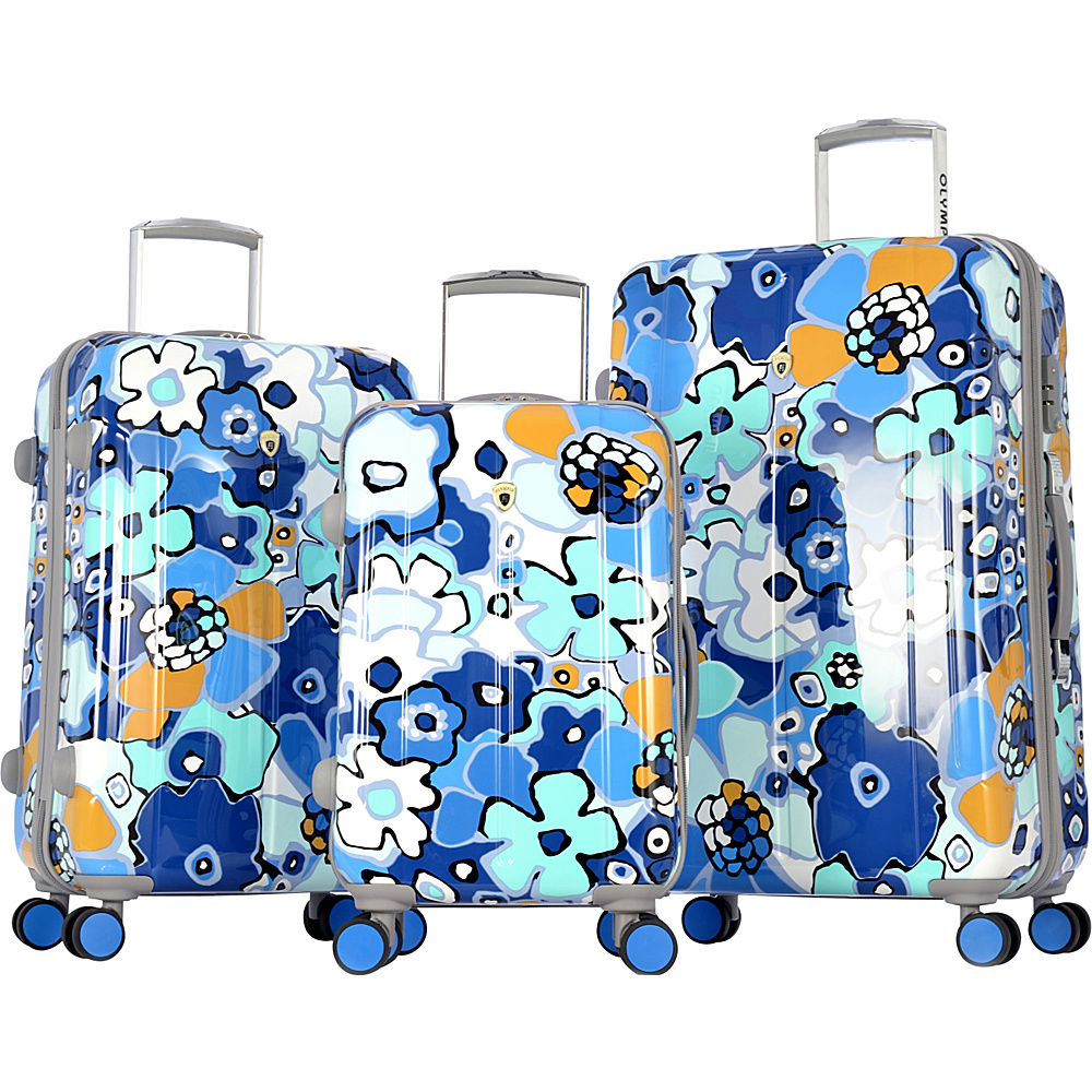 Olympia Blossom II 3pc Hardcase Spinner Set Blue - Olympia Luggage Sets
