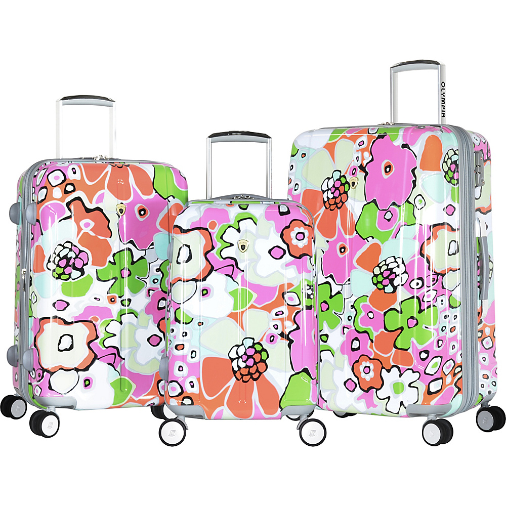 Olympia Blossom II 3pc Hardcase Spinner Set Pink - Olympia Hardside Luggage
