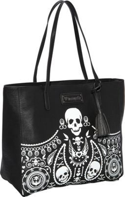 Loungefly Embossed Bandana Tote With Tassels Blk/Wht - Loungefly Manmade Handbags