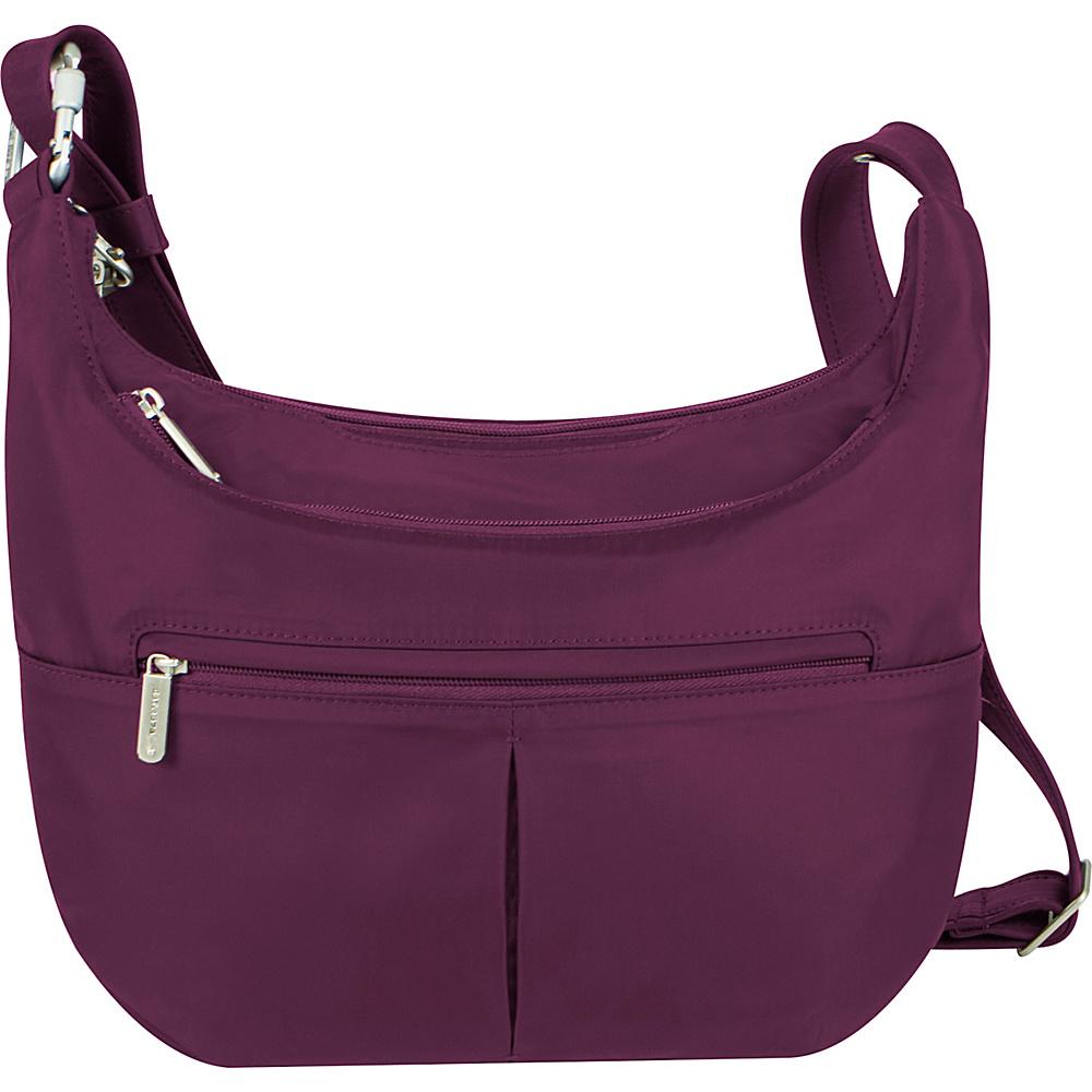Travelon Anti-Theft Classic Light Slouch Hobo Berry/Gray - Travelon Fabric Handbags