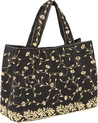 Moyna Handbags Satchel with Embroidery Black - Moyna Handbags Fabric Handbags