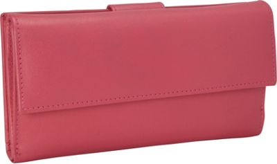 R & R Collections Leather Wallet with 1/2 Flap & Tab Pink - R & R Collections Women's Wallets