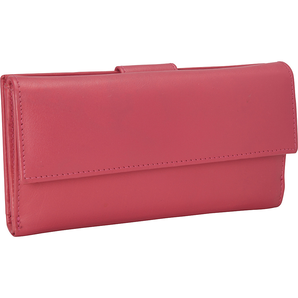 R R Collections Leather Wallet with 1 2 Flap Tab Pink R R Collections Women s Wallets