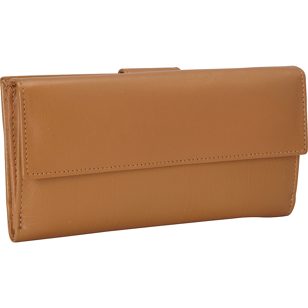 R R Collections Leather Wallet with 1 2 Flap Tab Camel R R Collections Women s Wallets