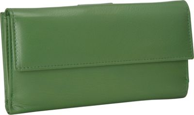 R & R Collections Leather Wallet with 1/2 Flap & Tab Green - R & R Collections Women's Wallets