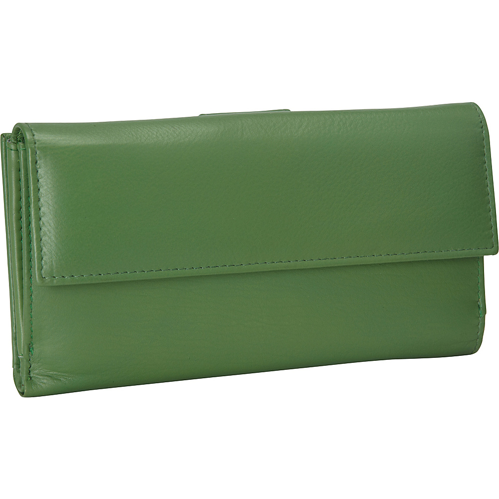 R R Collections Leather Wallet with 1 2 Flap Tab Green R R Collections Women s Wallets