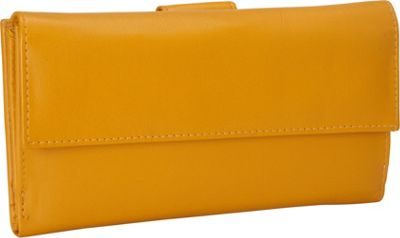 R & R Collections Leather Wallet with 1/2 Flap & Tab Yellow - R & R Collections Women's Wallets