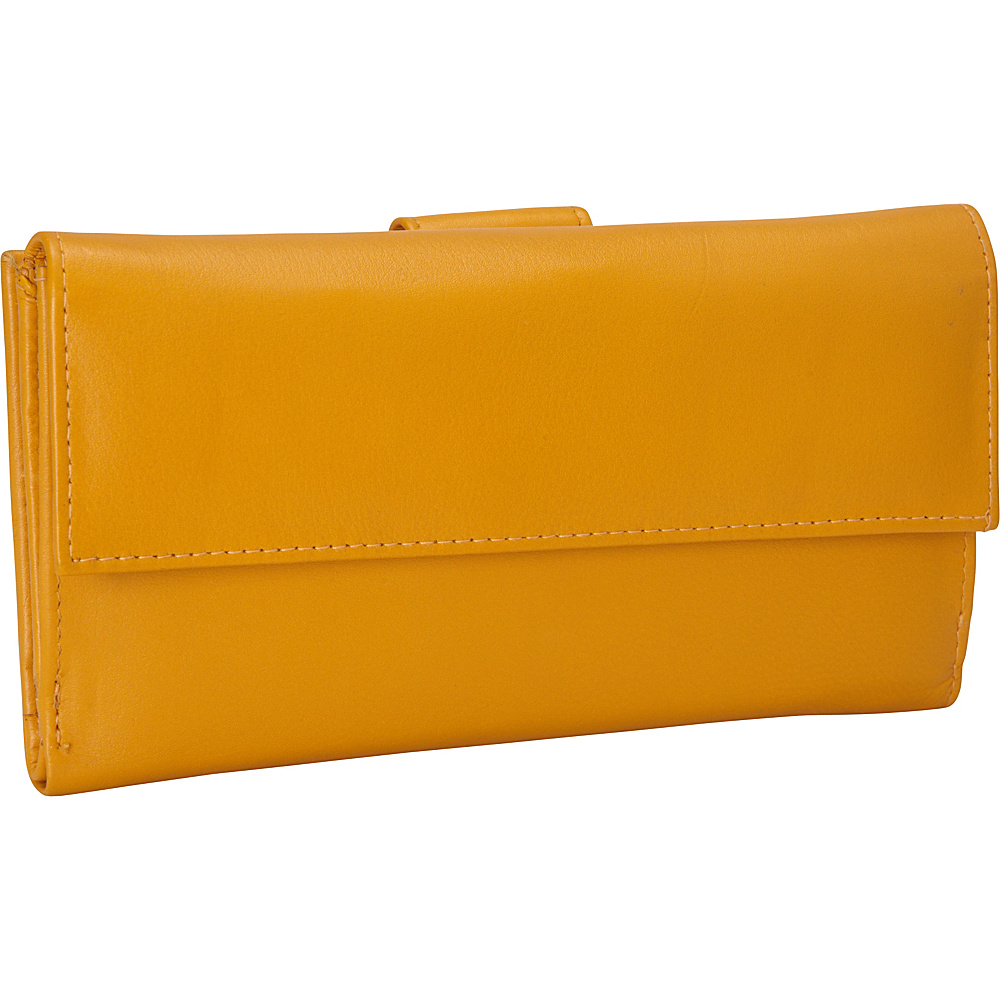 R R Collections Leather Wallet with 1 2 Flap Tab Yellow R R Collections Women s Wallets