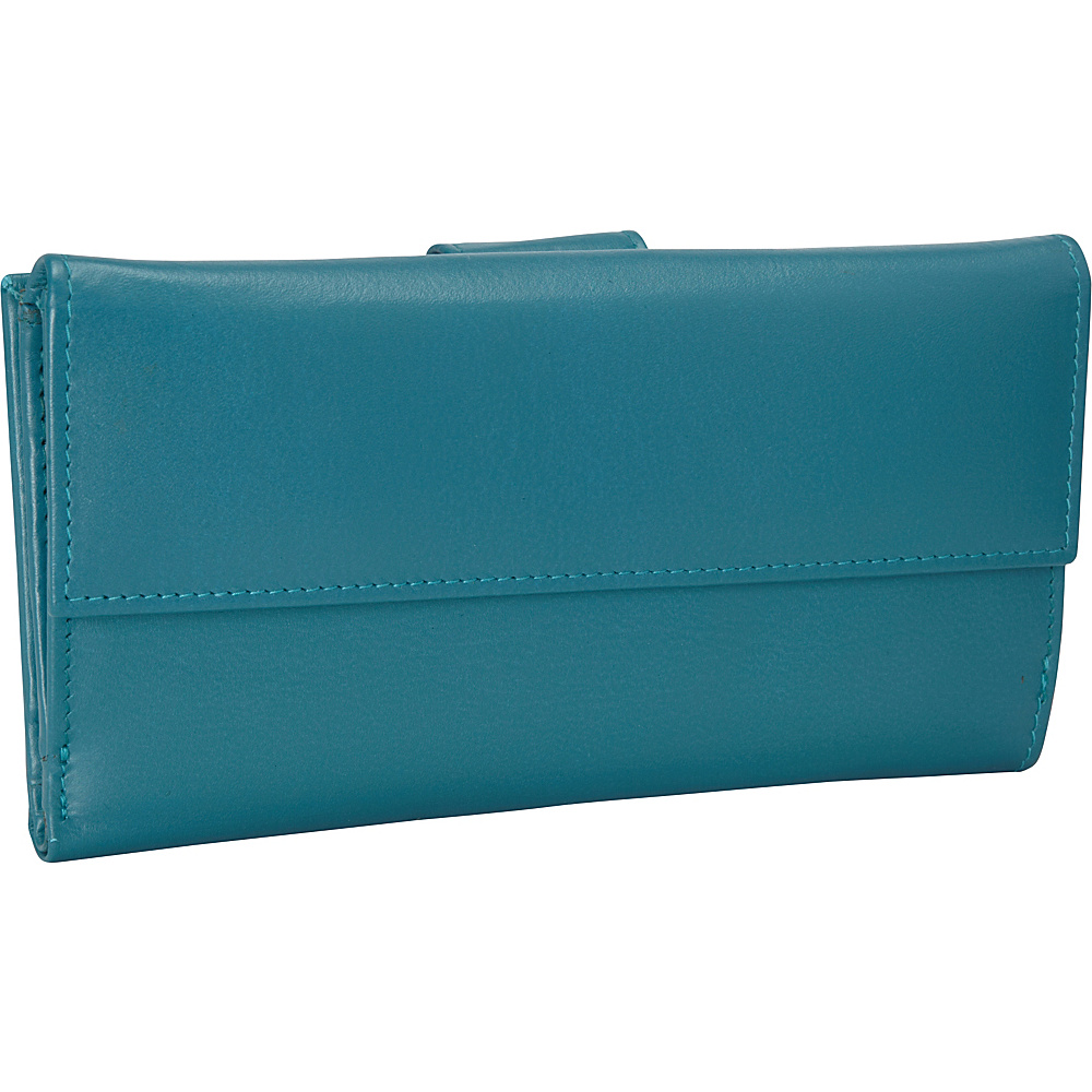 R R Collections Leather Wallet with 1 2 Flap Tab Turquoise R R Collections Women s Wallets