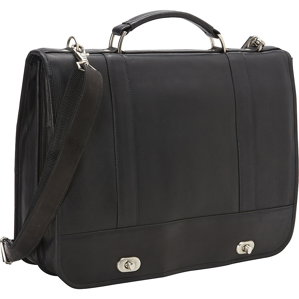 David King Co. Full Flap Turn Lock Laptop Briefcase Black David King Co. Non Wheeled Business Cases