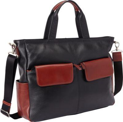 Derek Alexander East West Top Zip Tote Black/Brandy - Derek Alexander Leather Handbags