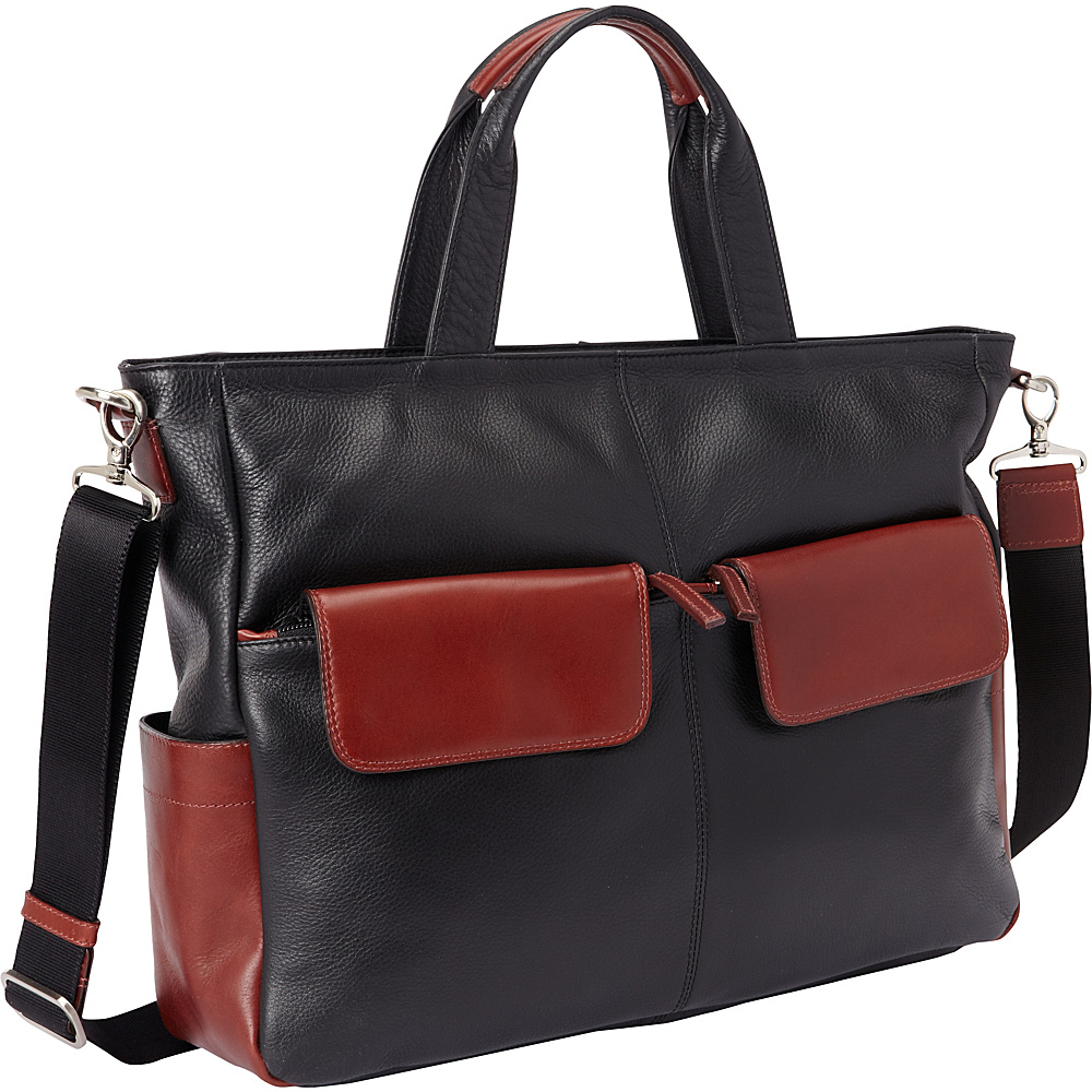 Derek Alexander East West Top Zip Tote Black/Brandy - Derek Alexander Leather Handbags - Handbags, Leather Handbags