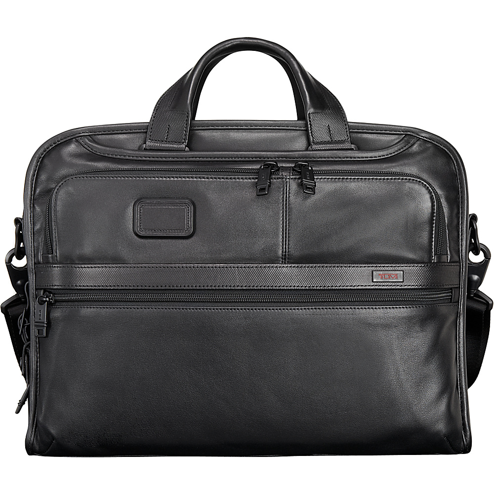 Tumi Alpha 2 Organizer Portfolio Leather Brief Black - Tumi Non-Wheeled Business Cases - Work Bags & Briefcases, Non-Wheeled Business Cases