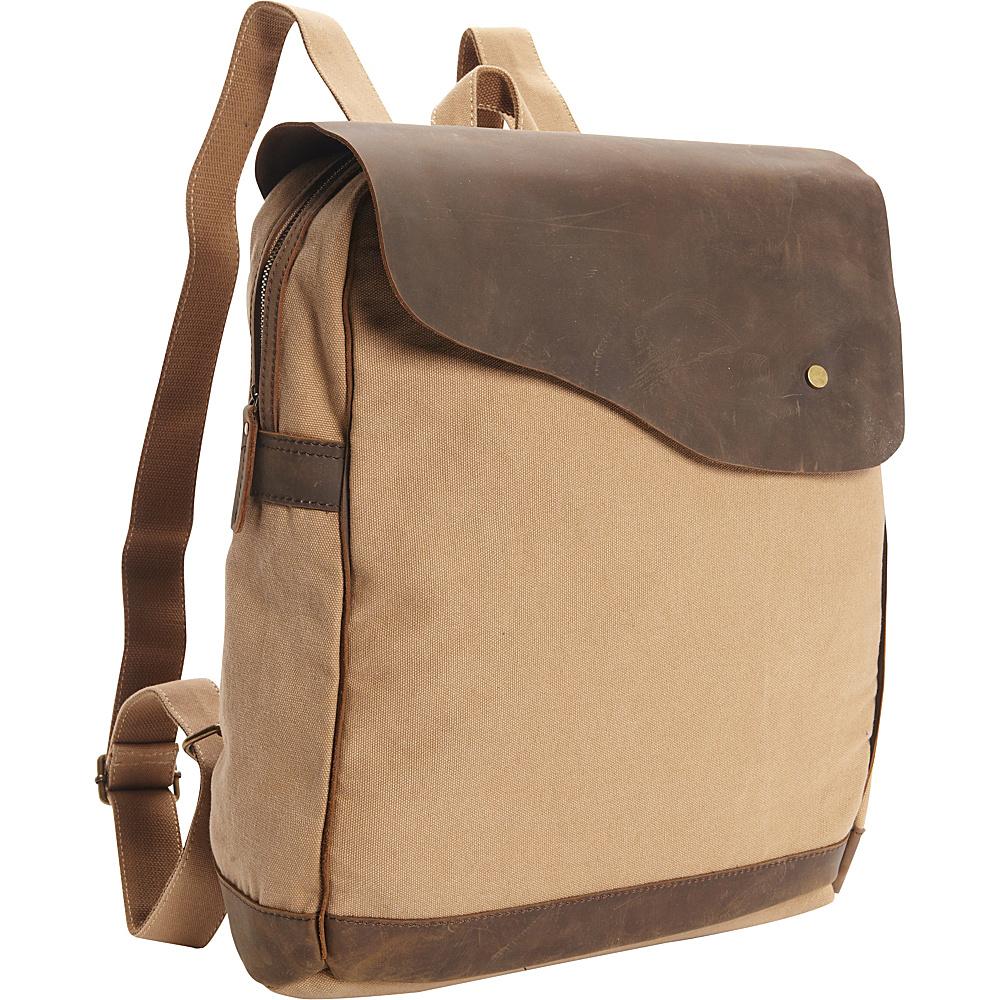 Vagabond Traveler Cowhide Leather Cotton Canvas Backpack Khaki - Vagabond Traveler Everyday Backpacks - Backpacks, Everyday Backpacks