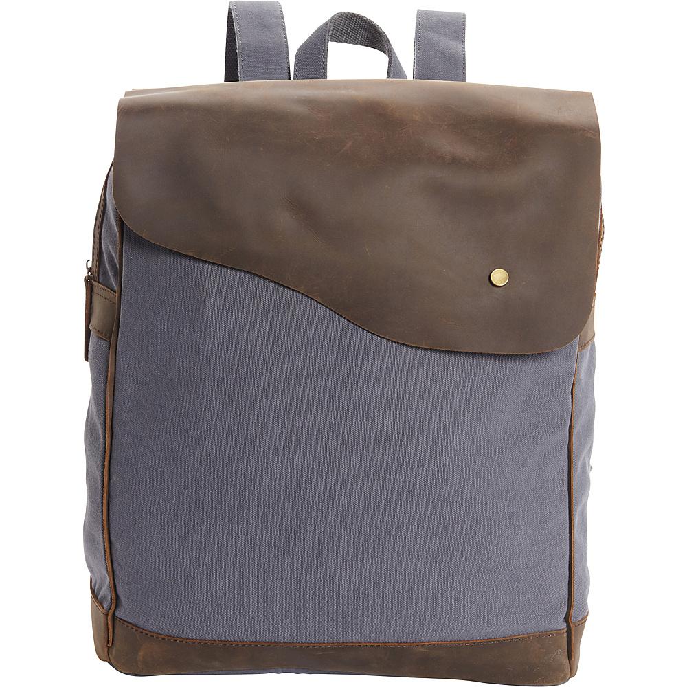 Vagabond Traveler Cowhide Leather Cotton Canvas Backpack Blue Grey - Vagabond Traveler Everyday Backpacks - Backpacks, Everyday Backpacks