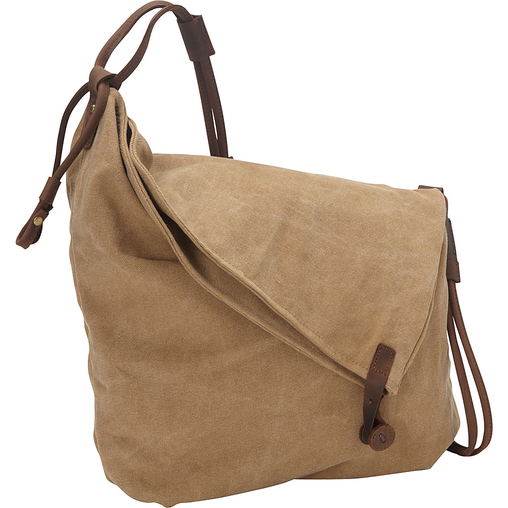 Vagabond Traveler Casual Style Cotton Canvas Cross Body Shoulder Bag Khaki - Vagabond Traveler Messenger Bags