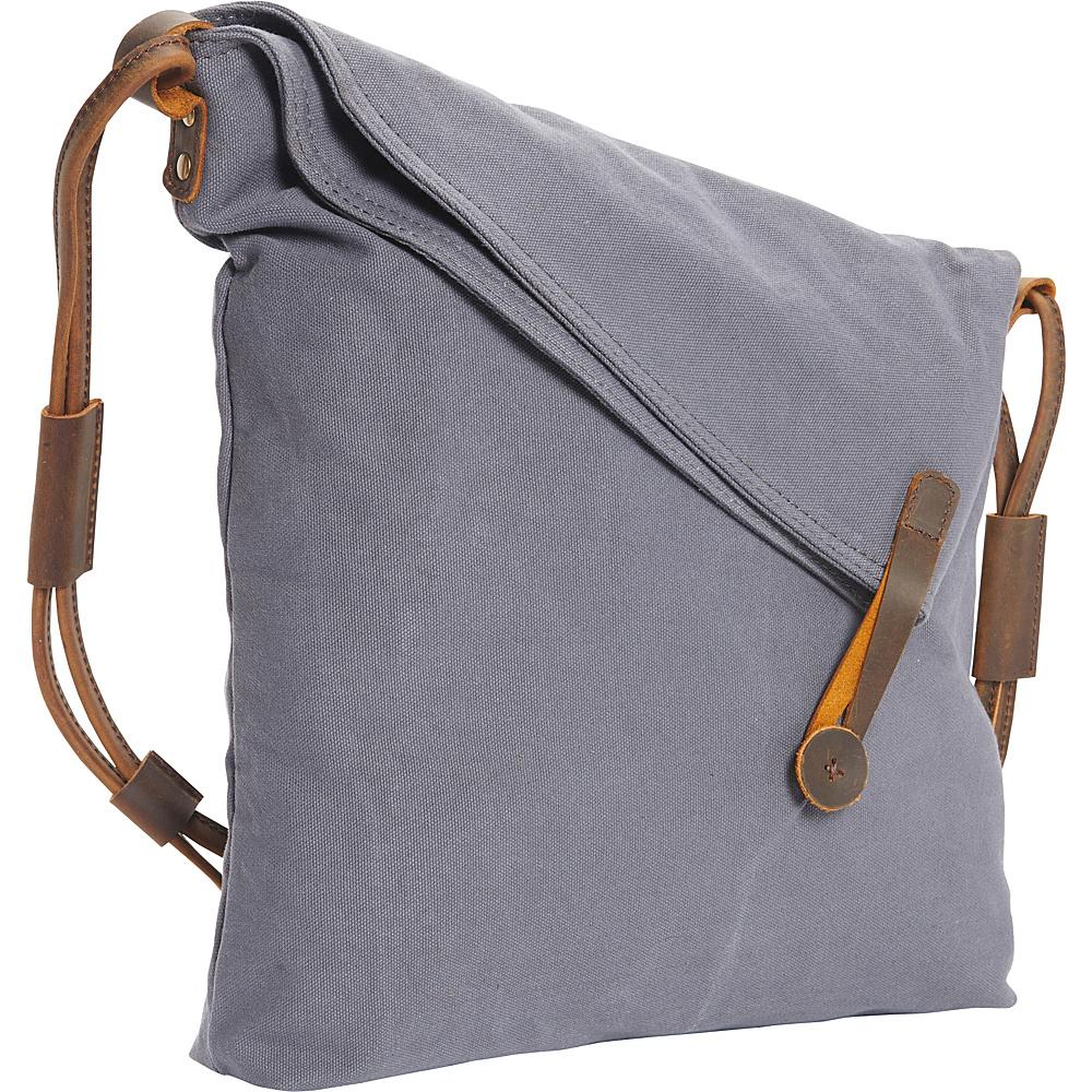 Vagabond Traveler Casual Style Cotton Canvas Cross Body Shoulder Bag Blue Grey - Vagabond Traveler Messenger Bags - Work Bags & Briefcases, Messenger Bags