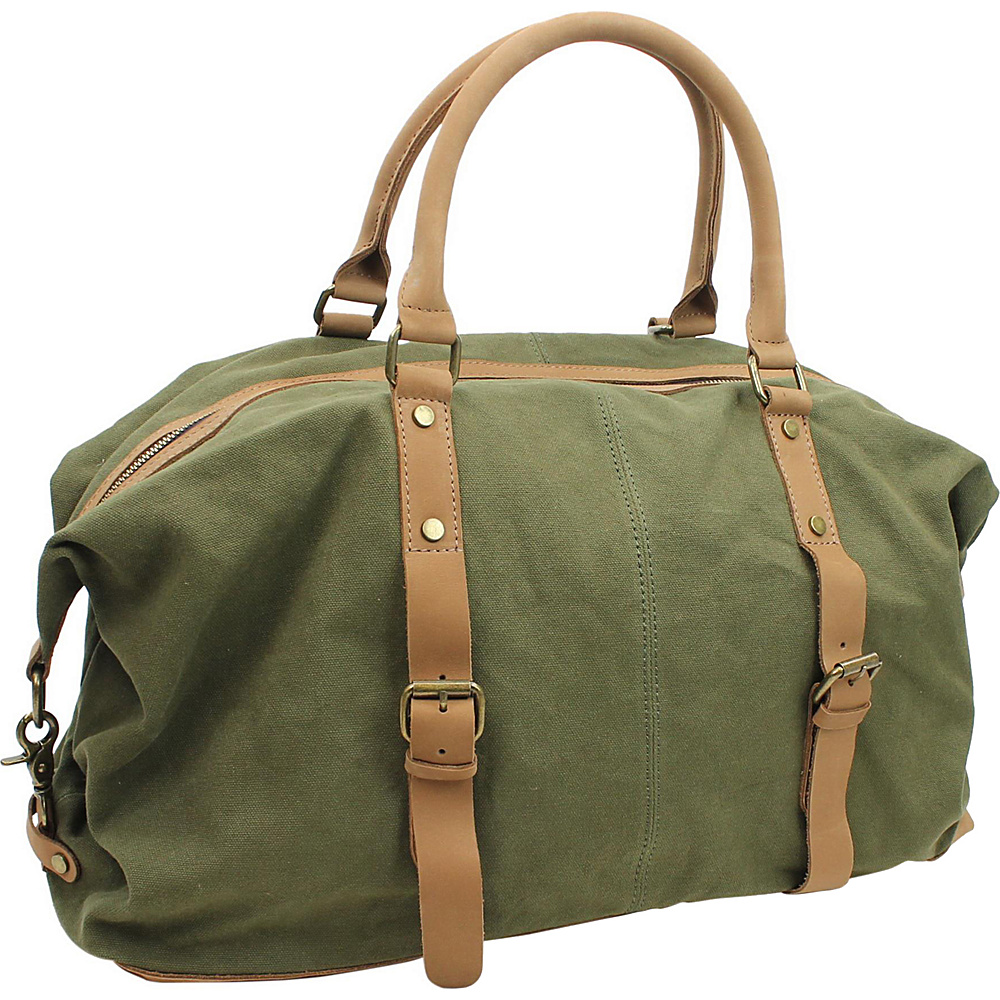 Vagabond Traveler Classic Antique Style Cotton Canvas Medium Duffle Bag Military Green - Vagabond Traveler Rolling Duffels - Luggage, Rolling Duffels