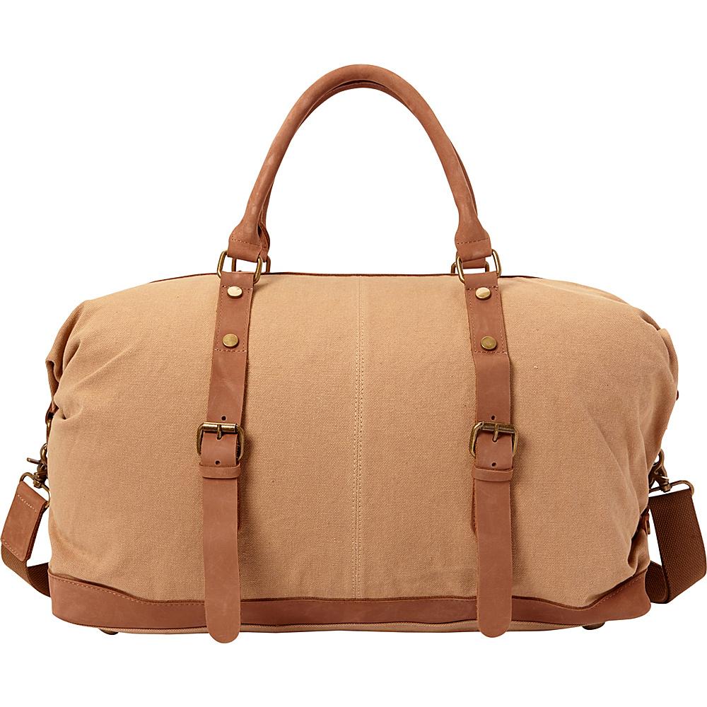 Vagabond Traveler Classic Antique Style Cotton Canvas Medium Duffle Bag Khaki - Vagabond Traveler Rolling Duffels - Luggage, Rolling Duffels