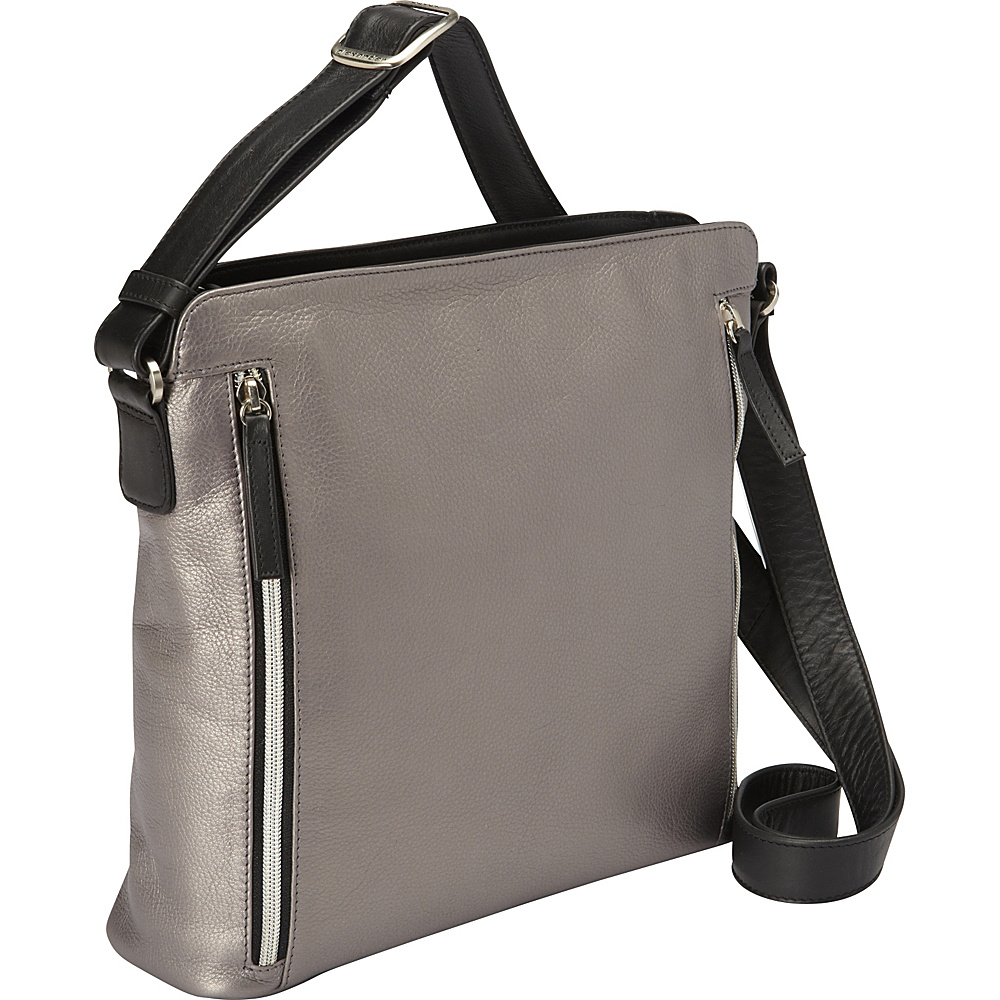 Derek Alexander Inset Top Zip Crossbody Silver Black Derek Alexander Leather Handbags