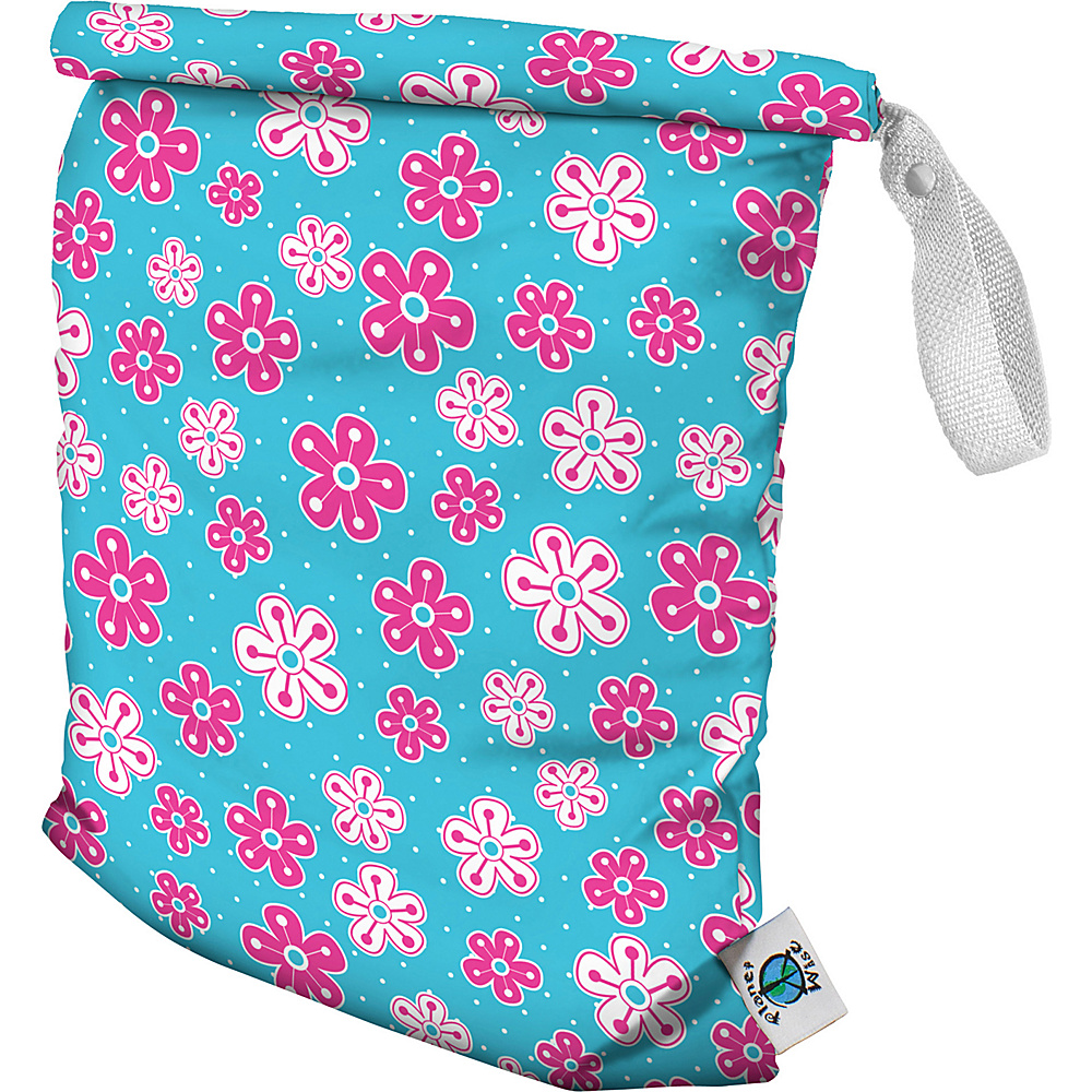 Planet Wise Medium Roll Down Wet Bag Aqua Petals Planet Wise Diaper Bags Accessories