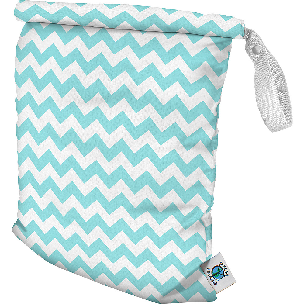Planet Wise Medium Roll-Down Wet Bag Teal Chevron - Planet Wise Diaper Bags & Accessories