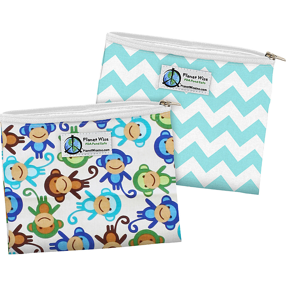 Planet Wise Zipper Sandwich Bag 2 Pack Monkey Fun Teal Chevron Planet Wise Travel Coolers