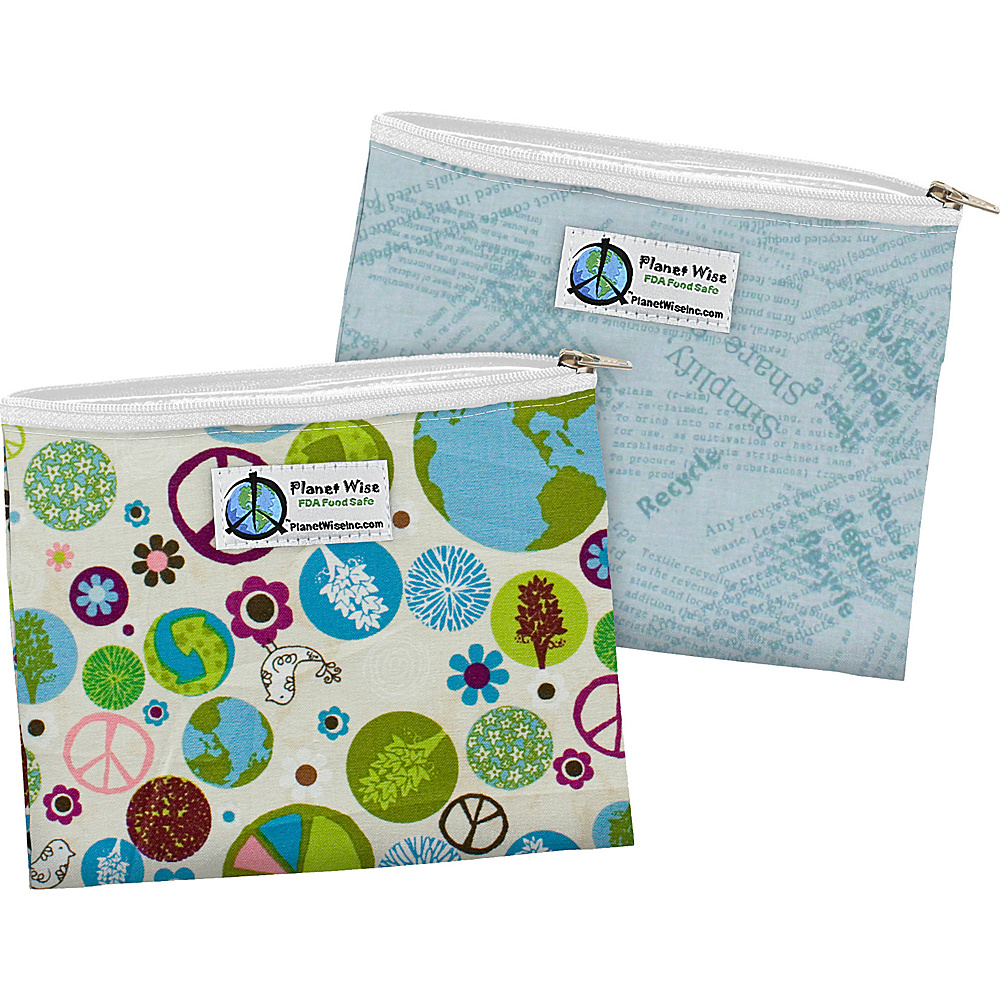 Planet Wise Zipper Sandwich Bag 2 Pack Peace on Earth Blue Recycle Planet Wise Travel Coolers
