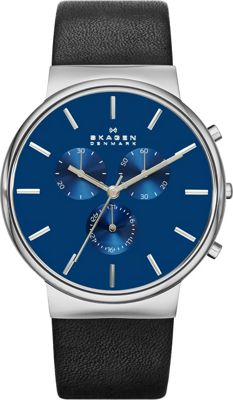 Skagen Ancher Watch Black with Blue Chronograph - Skagen Watches