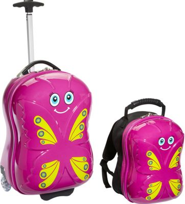 TrendyKid Bella Butterfly Upright Carry-On and Backpack Pink/Yellow - TrendyKid Luggage Sets