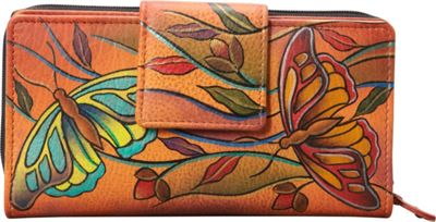 Anuschka Two Fold Organizer Wallet Angel Wings Tangerine - Anuschka Women's Wallets