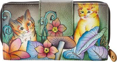 Anuschka Two Fold Organizer Wallet Cats in Wonderland - Anuschka Women's Wallets