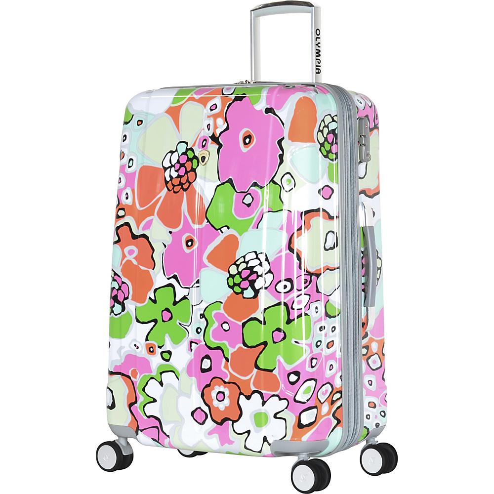 """Olympia Blossom II 29"""" Polycarbonate Large-size Spinner w/TSA lock Fuchisa - Olympia Hardside Luggage"""