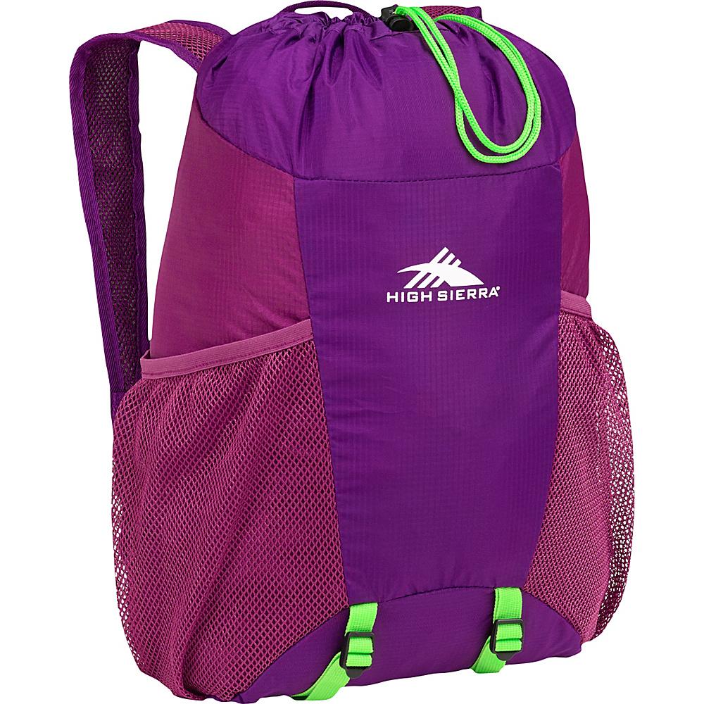 High Sierra 15L Packable Backpack In A Bottle EGGPLANT/BERRY BLAST/LIME - High Sierra Packable Bags