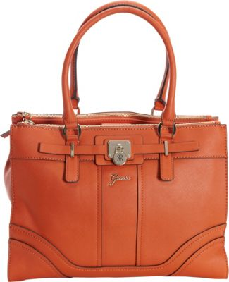 GUESS Greyson Status Carryall Orange - GUESS Manmade Handbags