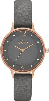 Skagen Anita Womens Leather Watch Grey - Skagen Watches