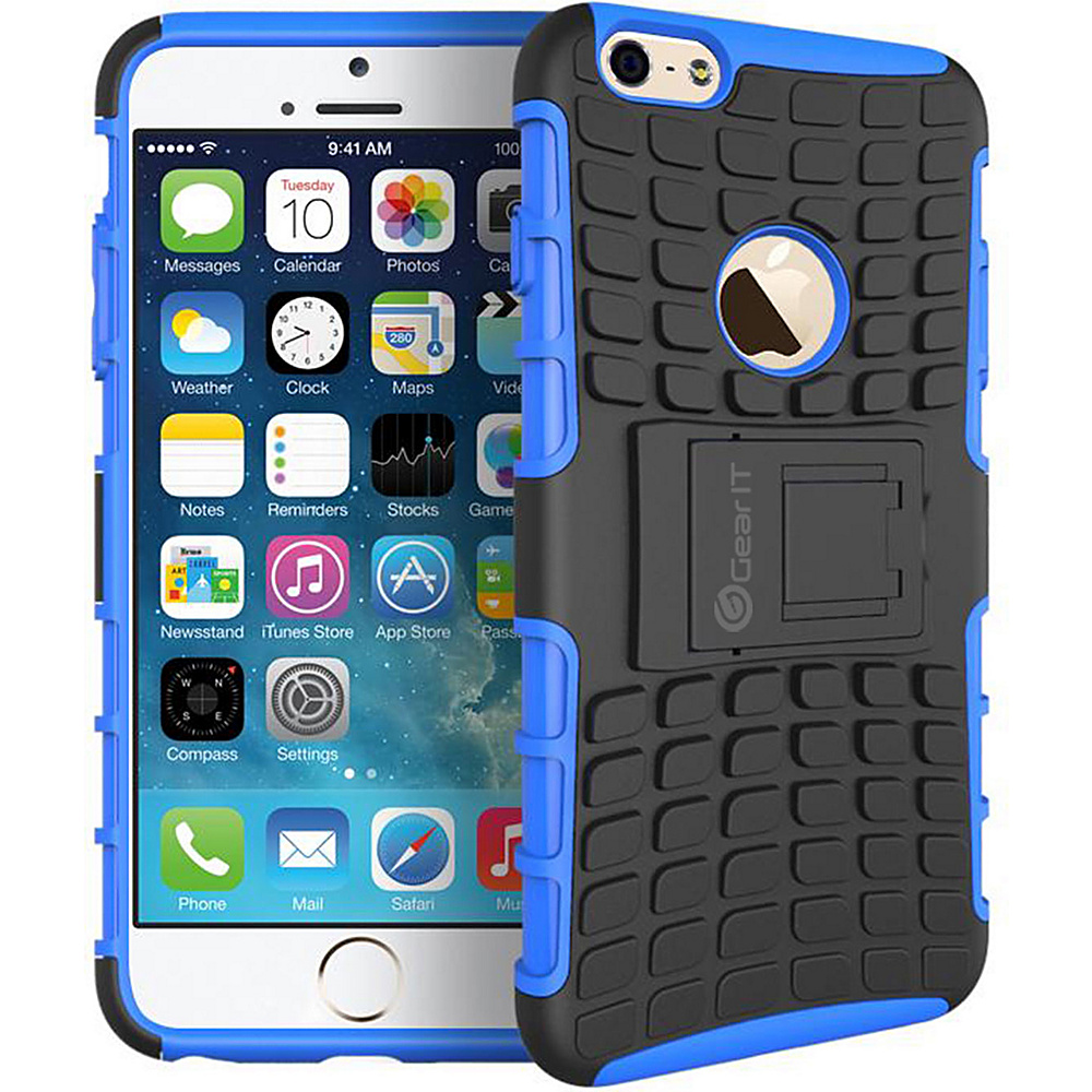 rooCASE Heavy Duty Armor Hybrid Rugged Stand Case for Apple iPhone 6 6s 4.7 Blue rooCASE Electronic Cases