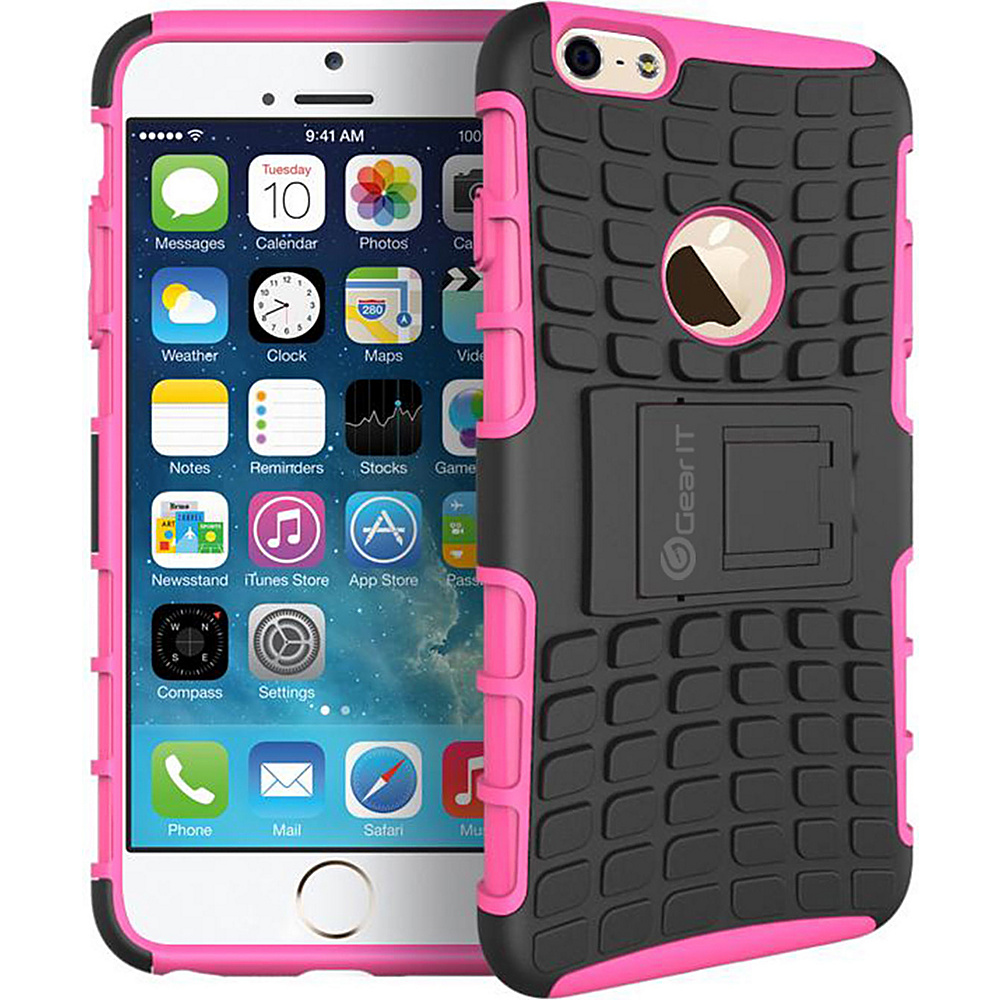 rooCASE Heavy Duty Armor Hybrid Rugged Stand Case for Apple iPhone 6 6s 4.7 Pink rooCASE Electronic Cases
