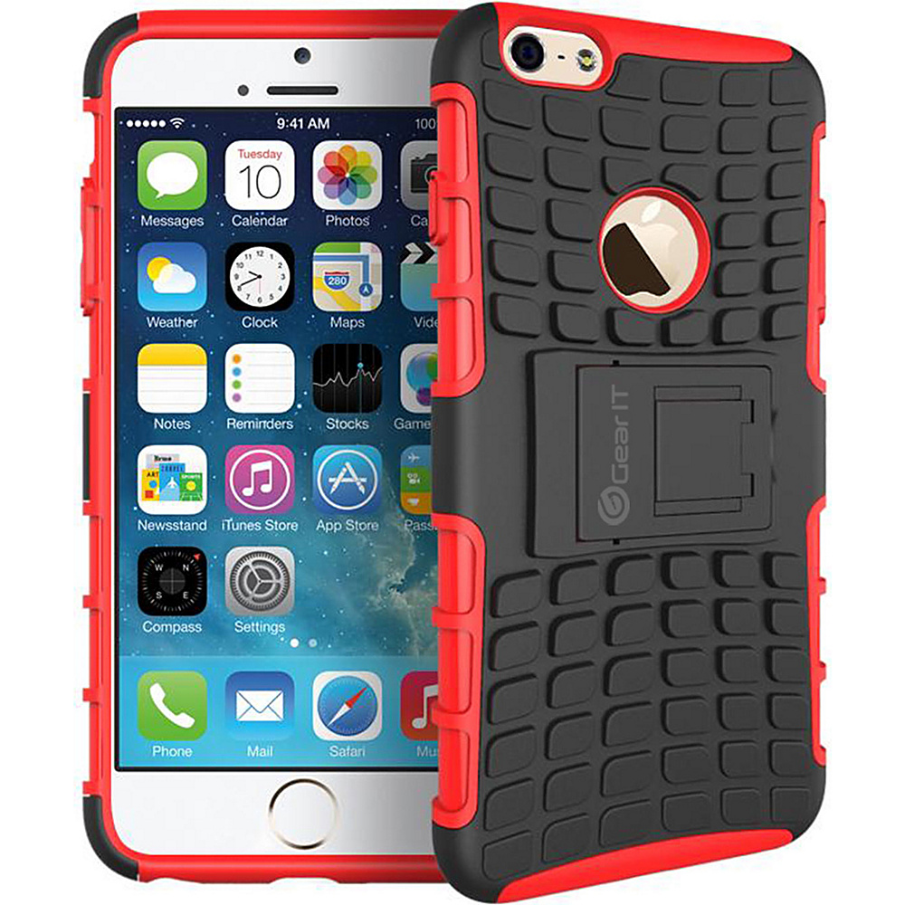 rooCASE Heavy Duty Armor Hybrid Rugged Stand Case for Apple iPhone 6 6s 4.7 Red rooCASE Electronic Cases