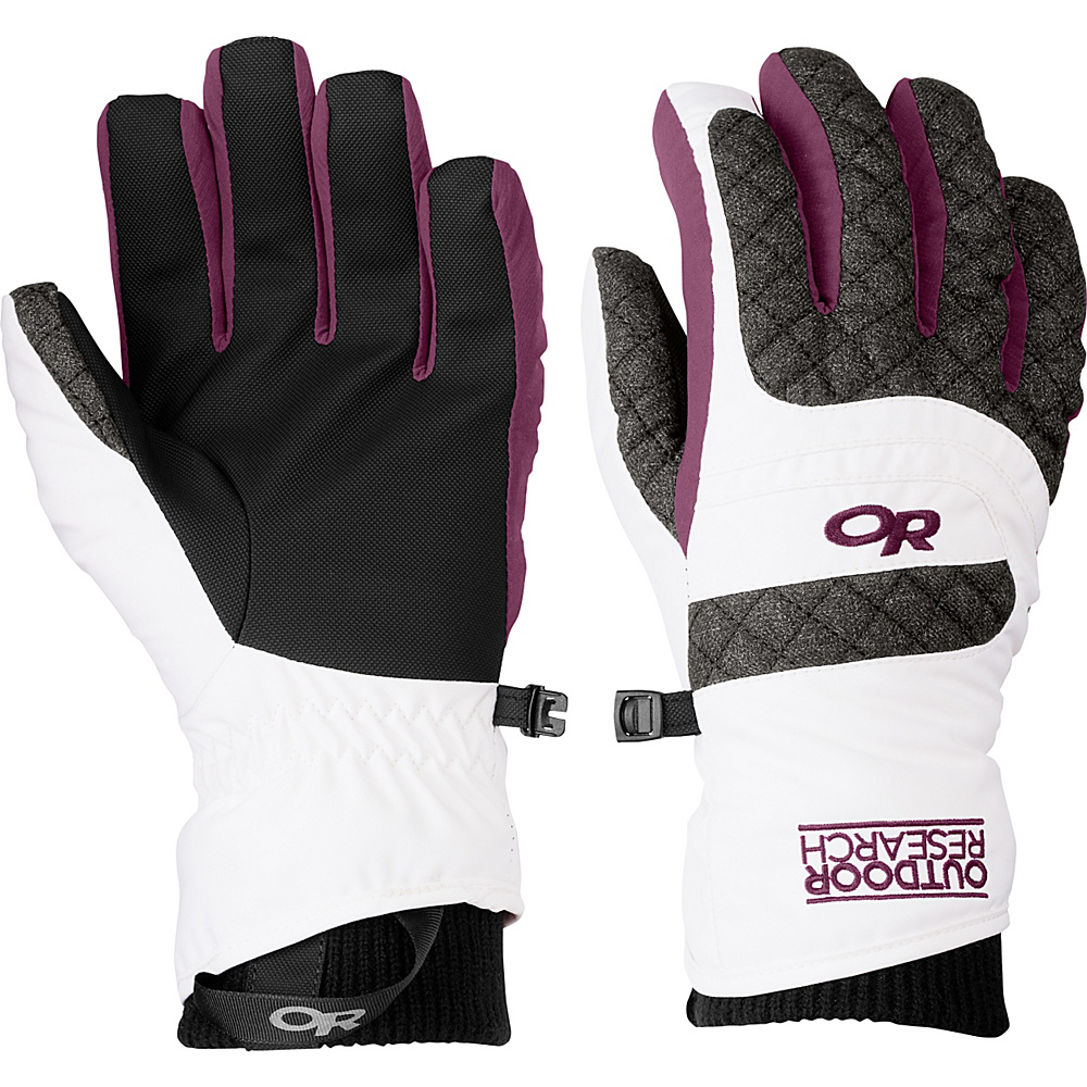 Outdoor Research Riot Gloves Womens L - White/Charcoal/Orchid - LG - Outdoor Research Hats/Gloves/Scarves - Fashion Accessories, Hats/Gloves/Scarves