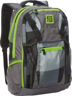 ful Troubleshooter 17 Inch Laptop Backpack Grey Checker Green - ful Everyday Backpacks