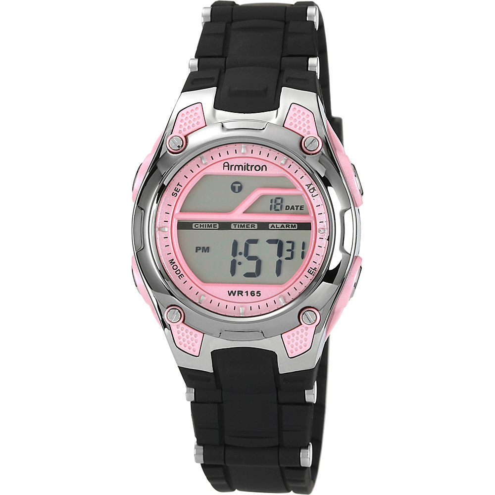 Armitron Ladies Black and Pink LCD Digital Watch Pink - Armitron Watches