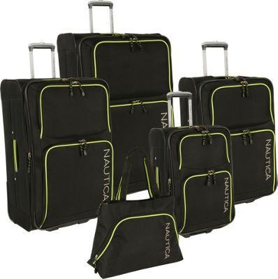 Nautica Catamaran 2 5 Pc Luggage set BLACK/VIBE YELLOW - Nautica Luggage Sets