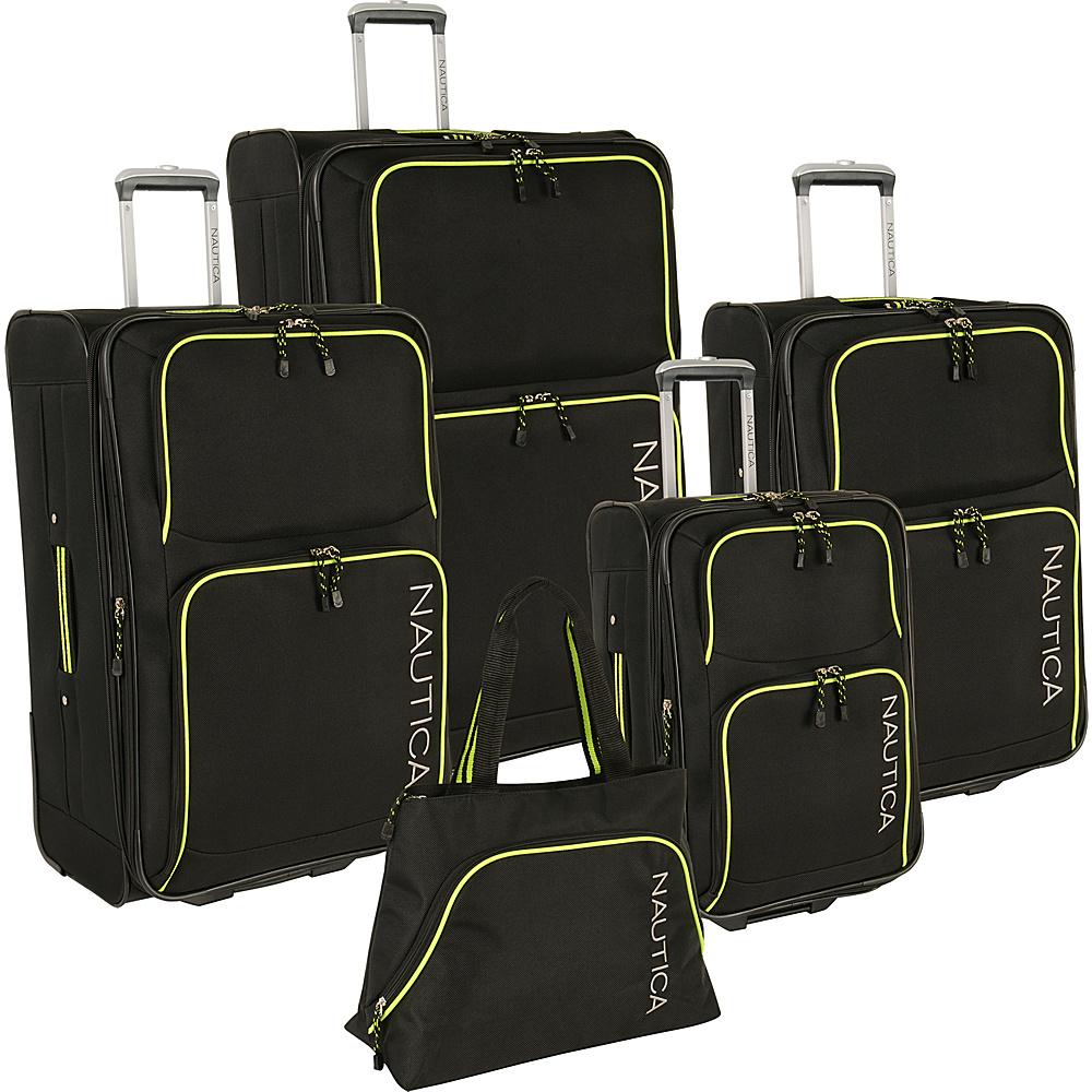 Nautica Catamaran 2 5 Pc Luggage set BLACK VIBE YELLOW Nautica Luggage Sets