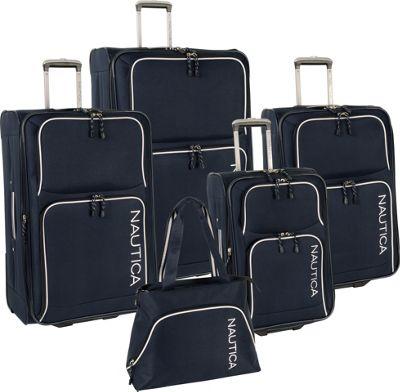 Nautica Catamaran 2 5 Pc Luggage set Navy/White - Nautica Luggage Sets