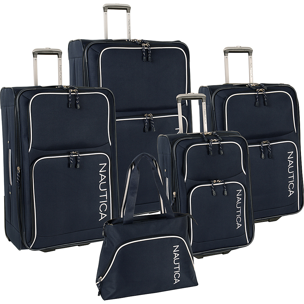 Nautica Catamaran 2 5 Pc Luggage set Navy/White - Nautica Luggage Sets