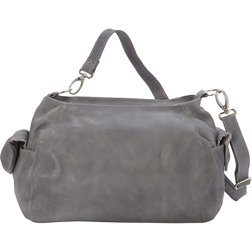 Piel Top-Zip Shoulder Bag/Cross Body Hobo Charcoal - Piel Leather Handbags