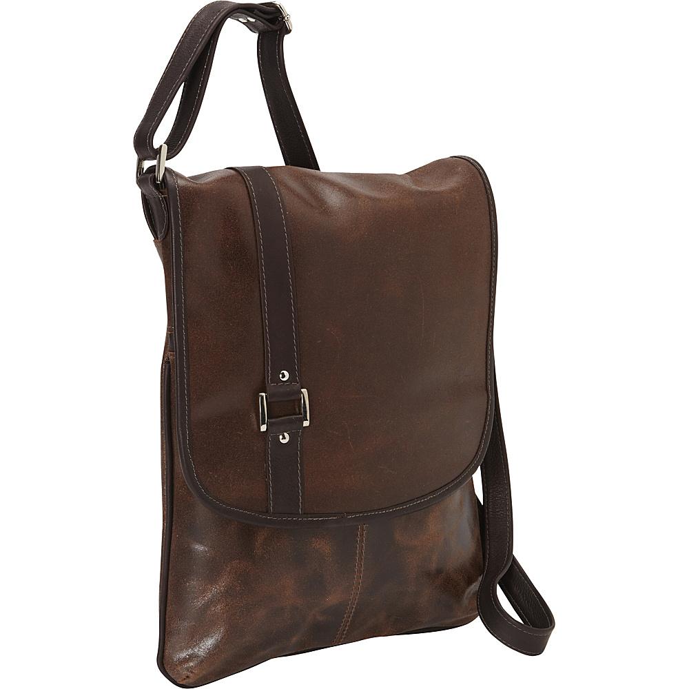 Piel Vintage Laptop Vertical Slim Messenger Bag Vintage Brown - Piel Messenger Bags - Work Bags & Briefcases, Messenger Bags