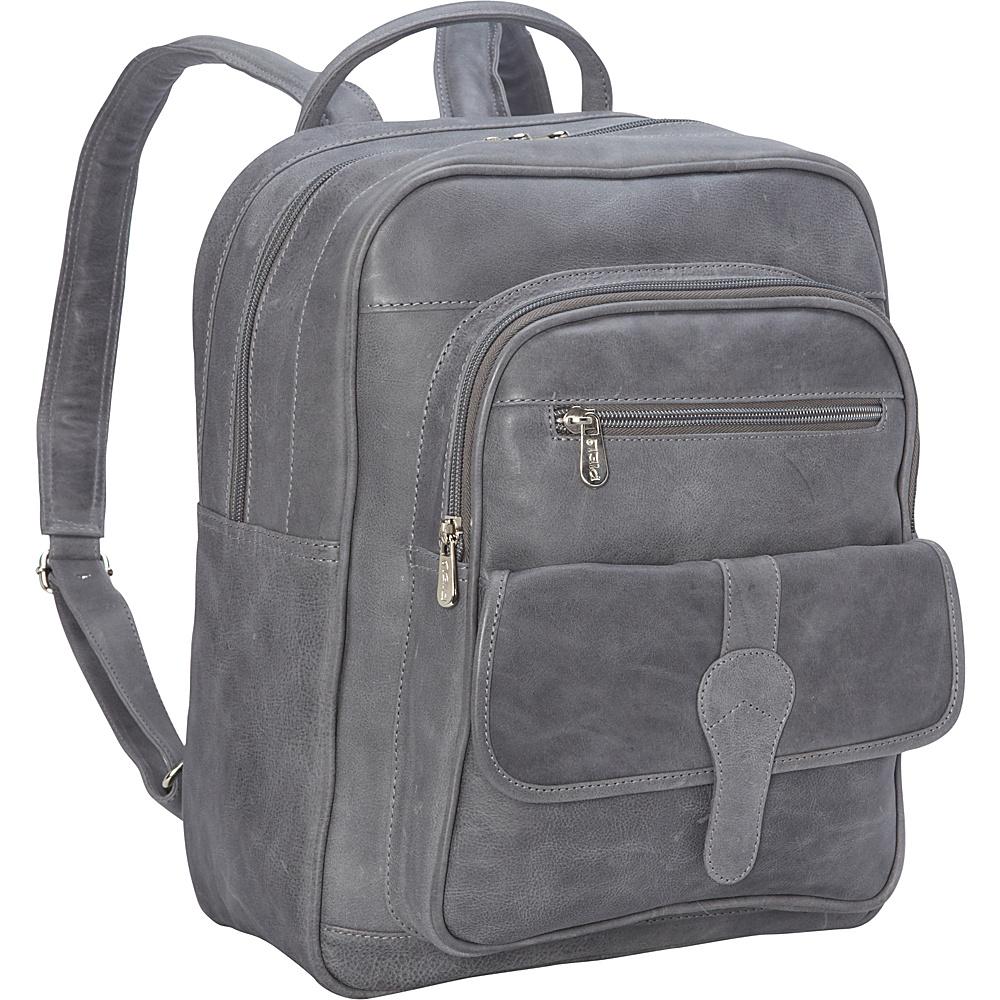 Piel Medium Buckle Flap Backpack Charcoal - Piel Everyday Backpacks - Backpacks, Everyday Backpacks